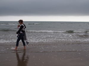 us enjoying a paddle in Barmouth with the FireSpiral Graphite starmap size 5